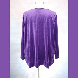 Woman Within Tops - Woman Within Purple Velour Top Size 3X